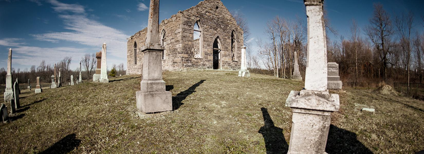 The abandoned church and cemetery of Rivière-La Guerre